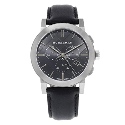Burberry Women's BU9356 Large Check Black Leather Strap Chronograph Watch