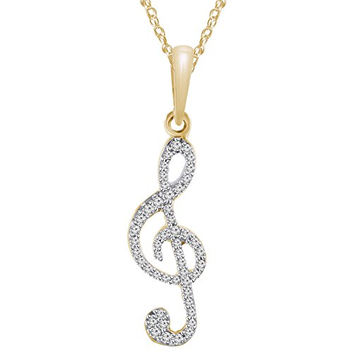 Pretty Jewels 10k Yellow Gold Finish Natural Diamond Music Note Pendant Necklace (1/5 cttw, I-J Color, I1-I2 Clarity)