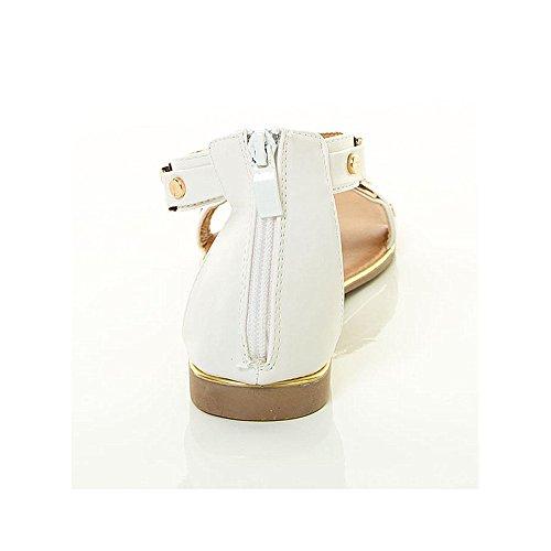 Voor Altijd Link Paradijs Nieuwe Vrouwen Open Teen Plated Stud Enkel T-strap Gladiator Platte Sandaal Witte Paradise12