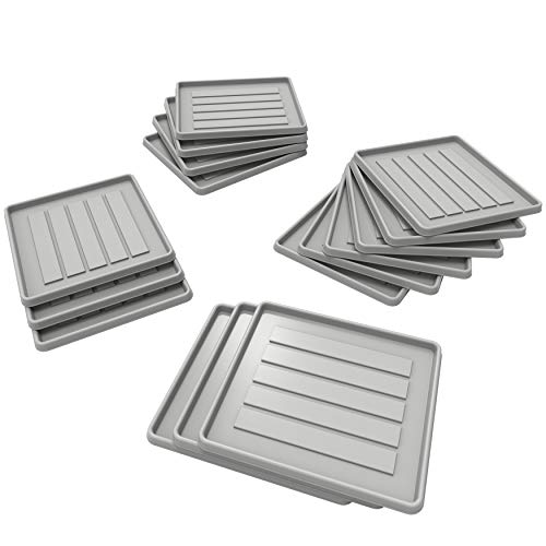 Storex School Locker – Office Cubicle Boot Tray, 12.38 x 11 x 0.8 Inches, Gray, 18-Pack 00803U18C
