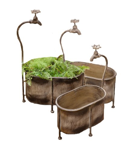 (Your Heart's Delight 8-1/2 by 14-1/2 by 23-1/2-Inch Oval Tin Faucet Style Nested Planters, Large, Set of 3)