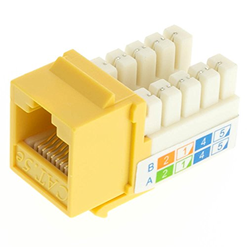 CableWholesale CAT-5 E, RJ45 Keystone Jack, 110 Style, Yellow Color (310-120YL)