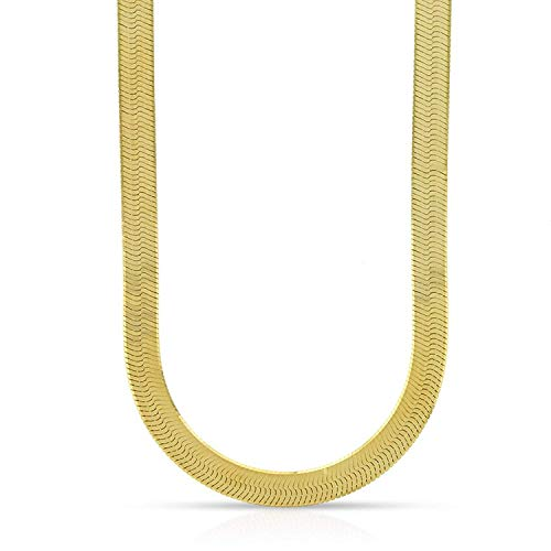 10K Yellow Gold 5mm Imperial Herringbone Chain Necklace 16