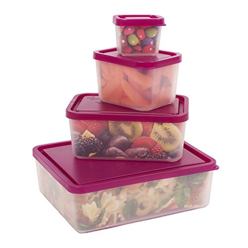Bentology - Leak-proof Portion Control Lunch Containers - No BPA - Set of 4 (Raspberry)