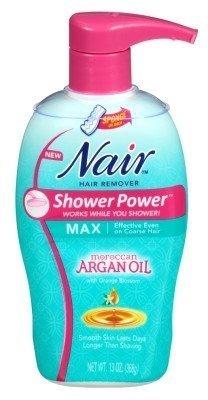Nair Hair Remover Shower Power Max Argan Oil 13oz Pump (2 Pack) by Nair