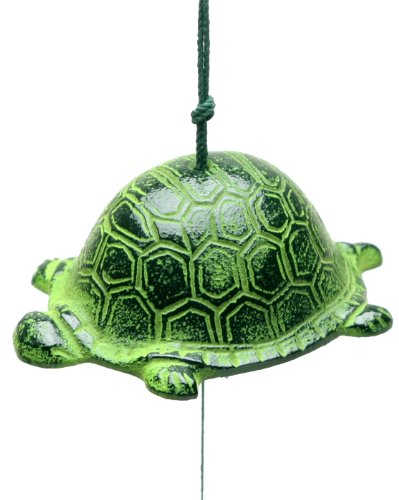 Kotobuki Iron Japanese Wind Chime, Turtle, Green 485-259
