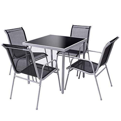 Giantex 5 Pcs Bistro Set Table and Chairs Indoor Outdoor Garden Patio Dining Furniture with Tempered Glass Table Top and Steel Frame Construction (5 Glass Piece Dining Top Set)