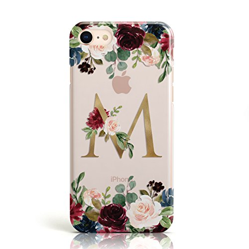 PERSONALISED CLEAR MONOGRAM & FLORAL MOBILE PHONE CASE COVER FOR APPLE IPHONE 7