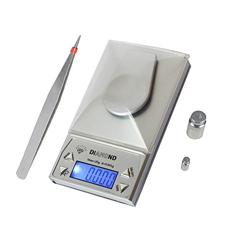 BeGrit Milligram Scale Digital  LCD Display Portable Pocket Gems and Jewelry Weigh Scales, 20 by 0.001g