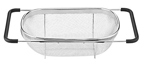 ess Steel Oval Colander Kitchen Utensils and Expandable Rubber Grip Handles Sink Colander for Rinse, Drain, Fruits, Vegetables, Pasta, Dylan Excellent (Fruit Vegetable Handle)