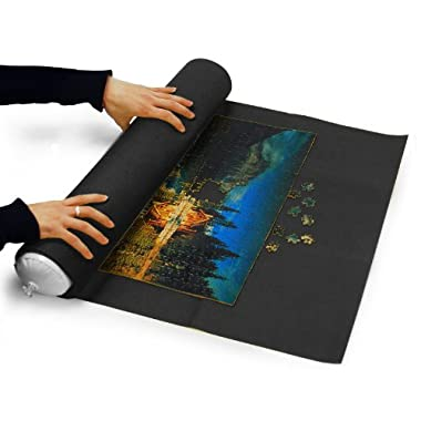 Sinoguo Black Felt Mat for Puzzle Storage, Puzzles Saver, No Folded Creases, Environmentally Friendly Materials, a Good Puzzle Accessories for Jigsaw Puzzle Player (Dark Gray)