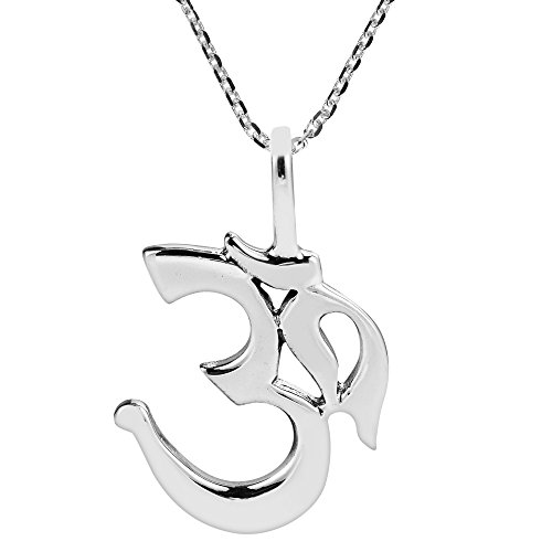 AeraVida Sacred Prayer Sign Mystic Om or Aum .925 Sterling Silver Pendant Necklace