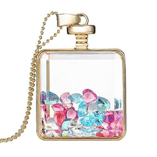 Gijoki Women Dried Flower Glass Square Perfume Bottle Pendant Necklace Pendants ()