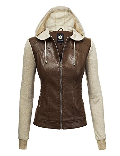 Lock and Love LL WJC1347 Womens Faux Leather Zip Up Moto Biker Jacket with Hoodie S Coffee_Oatmeal