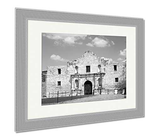 Ashley Framed Prints Entrance To Alamo In San Antonio Texas Us, Contemporary Decoration, Black/White, 26x30 (frame size), Silver Frame, - Texas San Antonio Pictures In Alamo Of The