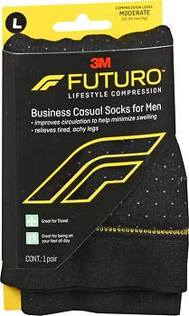 Futuro Business Casual Socks, Black, Large by Futuro