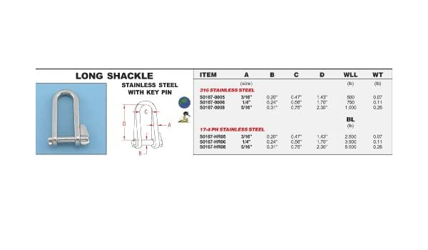 """S0167-0006 STAINLESS STEEL 316 LONG SHACKLE 5//16/"""" WITH KEY PIN"""