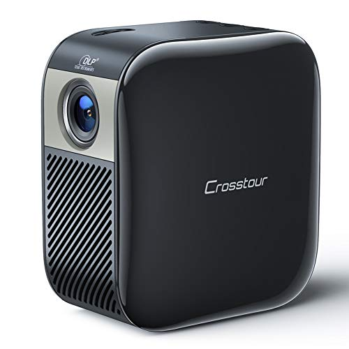 Mini Projector, Crossotour Portable DLP Pocket Projector Equipped with Built-in Battery for Home and Outdoors Entertainment, Support 1080p HDMI Input Compatible with iPhone, Android, and Laptop