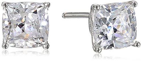 Platinum Plated Sterling Silver Cushion-Cut Stud Earrings made with Swarovski -