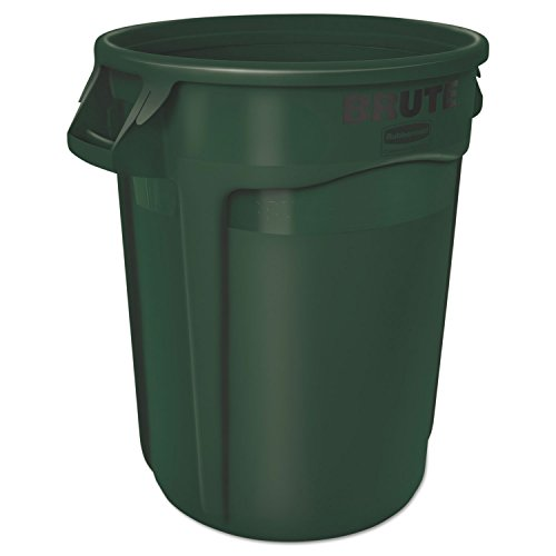 Dark Green Chip - Rubbermaid 2610DGR Round Brute Container, Plastic, 10 gal, Dark Green, 6/Carton
