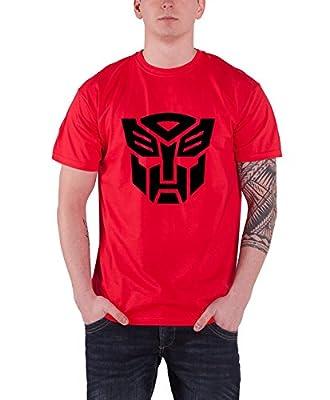 Transformers Shirt Autobot Shield Black Official Hasbro Mens Red