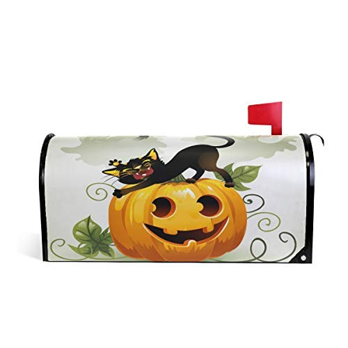 Tollyee Black Cat On Halloween Pumpkin and Ghost Magnetic Mailbox Cover Magnetic Mailbox Cover 9