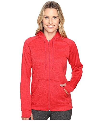 adidas Women's Team Issue Fleece 3-Stripes Full-Zip Hoodie, Medium, Ray Red Heather