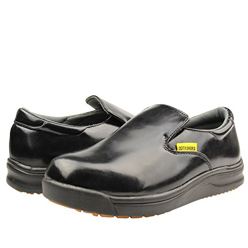 Image of DDTX Slip Oil Resistant Slip-on Mens Work Shoes Black/White