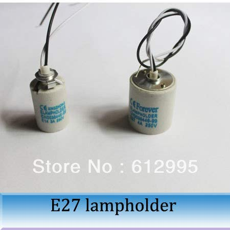Kamas 10pcs E27 base With the wire,lighting fittings Lighting screw ceramic lampholder flame retardant E27 DIY lamp assembly - (Base Type: E27)
