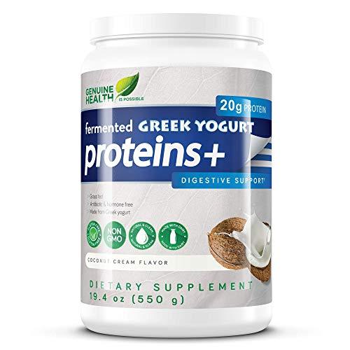 Genuine Health Fermented Greek Yogurt Proteins+, Coconut Cream Protein Powder, Low Carb, Low Sugar, Gluten Free, Digestive Support, 19.4oz Tub (Best Yogurt For Digestive Health)