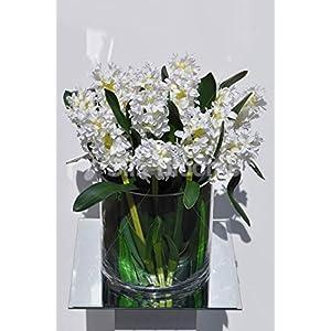 Artificial White Silk Delphinium Flower Arrangement w/Orchid Leaves 47