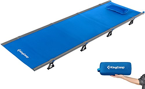 KingCamp Ultralight Compact Folding Camping Cot Bed, 4.9 Pounds (Blue)