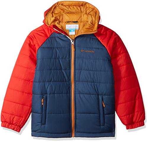 Columbia Boys' Big Tree Time Puffer Jacket, Dark Mountain/Red Spark, Medium