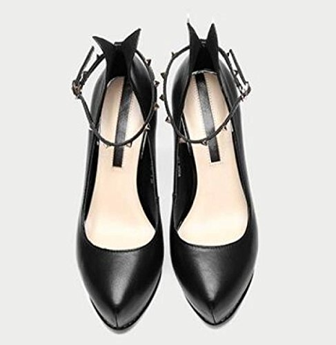 Shoes Party Wedding Black Stilettos Platform Pointed Women Prom Ladies Evening Shoes Pumps Toe Heel Black Court High aqwYOUxP