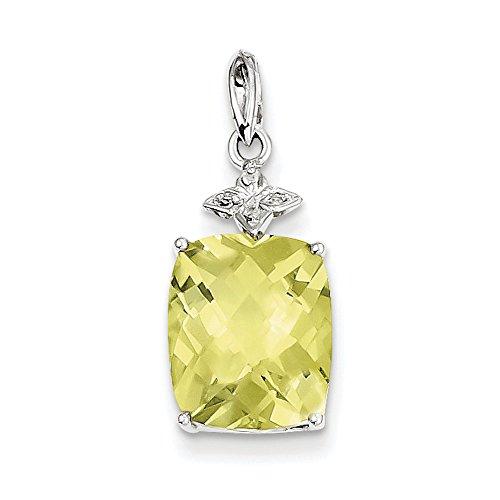 En argent sterling Pendentif diamant et quartz citron