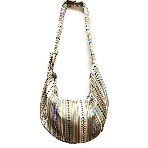 KARRESLY Large Bohemian Hippie Thai Top Zip Handmade Hobo Sling Crossbody Bag Purse Paisley Print with Adjustable Strap(10-1053)