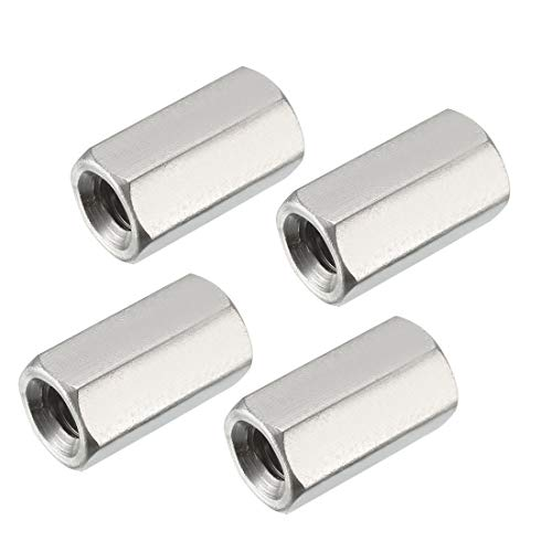 uxcell M8 X 1.25-Pitch 24mm Length 304 Stainless Steel Metric Hex Coupling Nut, 4pcs ()