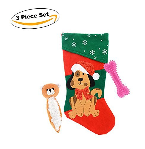 Red Bone Hound (Christmas Dog Stocking with toys - Includes two BONUS Chew Toys!)