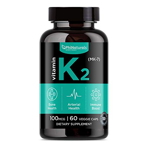 Vitamin K2 - MK7 - K2 100mcg - K2 Natto Organic Supplement Complex - Support Bone Health Heart Teeth - Non-GMO Made in USA (60 Easy To Swallow Small Capsules)