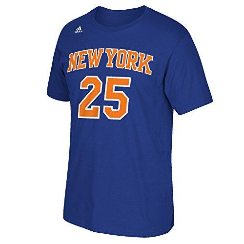 (NBA New York Knicks Derrick Rose #25 Men's Replica Name & Number Short Sleeve Go-To Tee, X-Large, Blue)