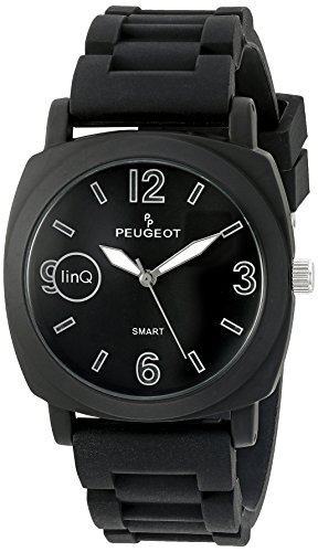 Peugeot 'Bluetooth Connected' Quartz Metal and Rubber Smart Watch, Color Black (Model: LQ1001BK) by Peugeot