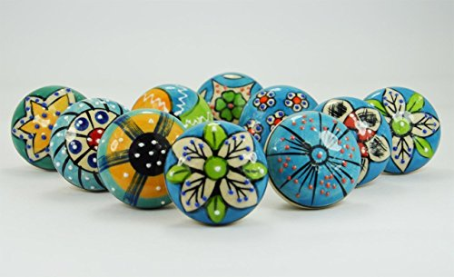 (10 Pieces Set of Sky Blue Color Ceramic Knobs Drawer Pulls with Different Design & Chrome Hardware Pottery Blue)
