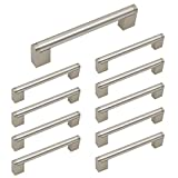 homidy Satin Nickel Cabinet Pulls 5 inch(128mm) Hole Centers 10 Pack Kitchen Cabinet Handles Brushed Nickel Boss Bar Modern Cabinet Pulls Kitchen Handles for Cabinets Kitchen Cabinet Pulls
