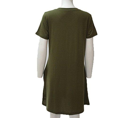 2018 Top Maxi Asimetricos Noche Verano Grande con Largo Caftan Dress Talla Tunica de y Camiseta Imperio Fiesta Verde Vestidos Raja Vestidos Casual Blusa Oversize Larga Casual Mujer Playa Manga B Corta Liso fOEZEwxpq