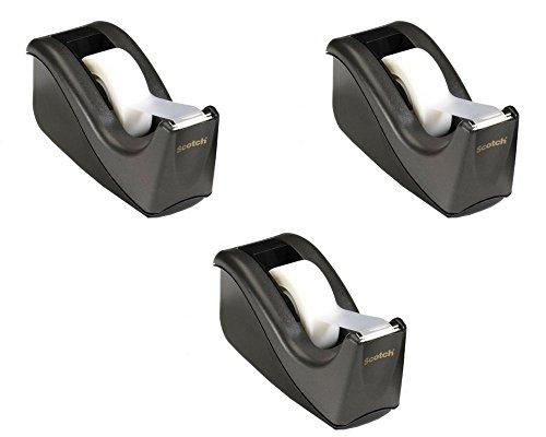 Desk Dispenser Core Tape 1 (Scotch Value Desktop Tape Dispenser, 1 Inch Core, Two Tone Black (C60-BK) (Pack of 3))