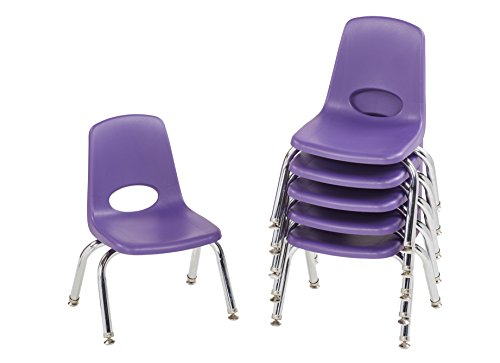 ECR4Kids 10'' School Stack Chair, Chrome Legs with Nylon Swivel Glides, Purple (6-Pack) by ECR4Kids