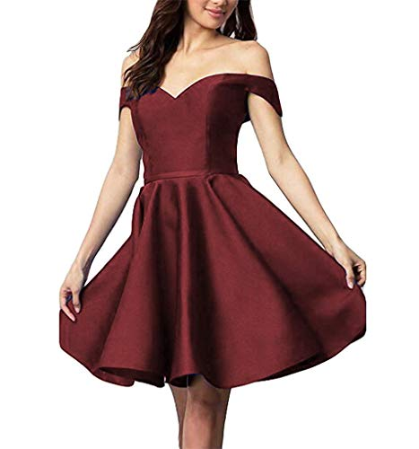 Homecoming CCBubble Burgundy Shoulder Satin Party Off Homecoming 2018 Short Dresses Dress wRw0Cg