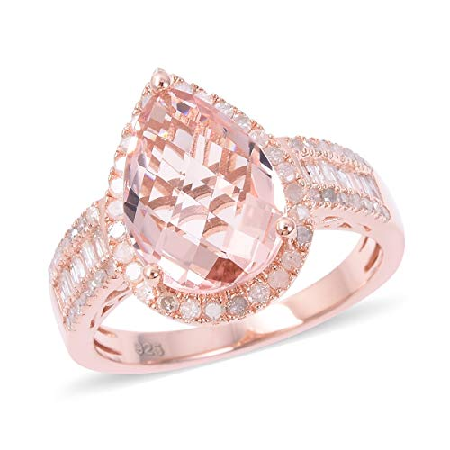 - 925 Sterling Silver Vermeil Rose Gold Plated Diamond Baguette Ring Size 10 Cttw 0.6