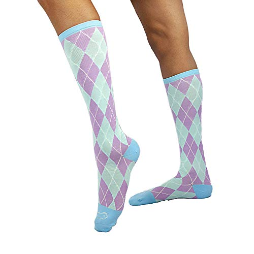 ZAYAAN HEALTH Argyle Compression Socks (12-15 mm/Hg) | Anti-Fatigue, Comfortable, Antibacterial, Odor & Moisture Resistance - Pastel Green/Purple/Blue