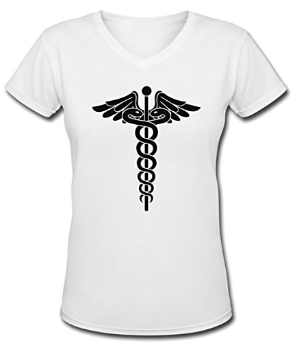 Docteur Blanc Coton Femme V-Col T-shirt Manches Courtes White Women's V-neck T-shirt